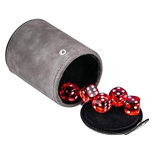 REFLECTS Würfelbecher für unterwegs mit 5 Würfeln rot in verschließbarem Fach am Boden