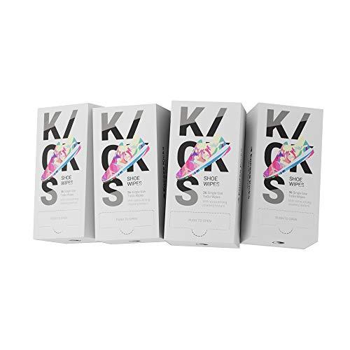 4x Kicks Shoe Wipes | Sneaker Cleaning Wipes | 36 Stück | Schuh Reinigungstücher einzeln verpackt in der Spenderbox