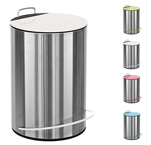 SANWOOD Mathis Bad Mülleimer mit höhenverstellbarem Griff 5L - Kosmetikeimer für Badezimmer und Küche aus Edelstahl - Badmülleimer mit Softclose Automatik Schwingdeckel (Weiß)