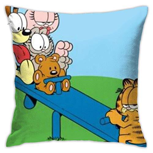 WH-CLA Almohada Cubierta Balancín Garfield Throw Pillow Case Poliéster Funda De Almohada para Cojín Elegante Tirar Almohada Cojin para Sofá Cámping Cumpleaños M