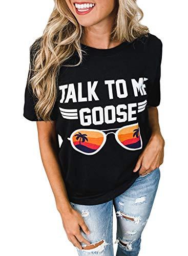CORAFRITZ Camiseta de manga corta con estampado de letras gráficas para mujer con cuello redondo
