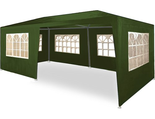Deuba 3x6m Garden Gazebo Marquee Patio BBQ Party Tent Wedding Outdoor Large Canopy Awning Sun Shelter Sidewalls Green