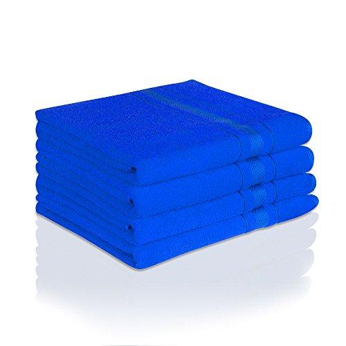 Juego de toallas de mano, ausbleichsicherwaschhandschuh, invitados, toalla de mano, toalla de ducha, toalla de baño, toalla de sauna de tejido de rizo, color: azul, tamaño: 4pieza Toalla de invitados