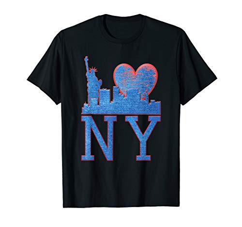 NY New York, Liberty, Skyline, Blue Jeans Pattern T-Shirt