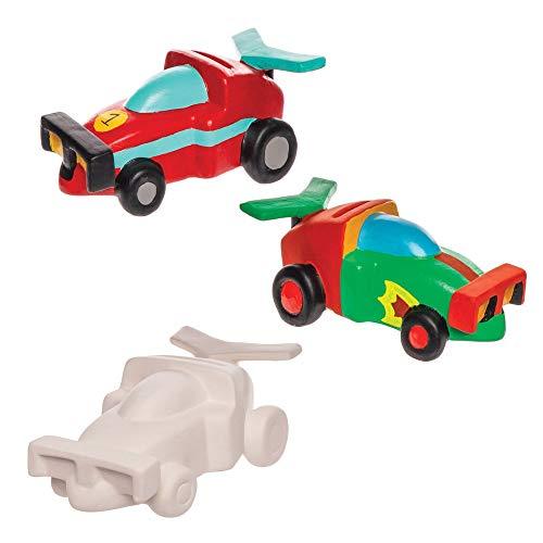 Baker Ross- Huchas de cerámica con forma de coche de carreras (Pack de 2) - Actividad de manualidades infantiles