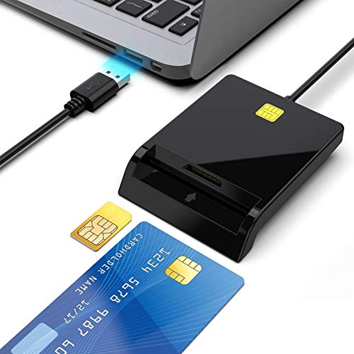 USB Smart Card Reader-Rocketek DOD Military Public Access CAC Smart Card Reader Adapter/ID Card/IC Bank Chip Card/SIM Card Reader, Compatible with Windows XP/Vista / 7/8/10, Mac OS (Black)