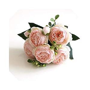 Silk Flower Arrangements MUZIBLUE Babys Breath Artificial Flowers Bulk  30cm Rose Pink Silk Bouquet Peony Artificial Flowers 5 Big Heads 4 Small Bud Bride Wedding Home Decoration Fake Flowers Faux-1