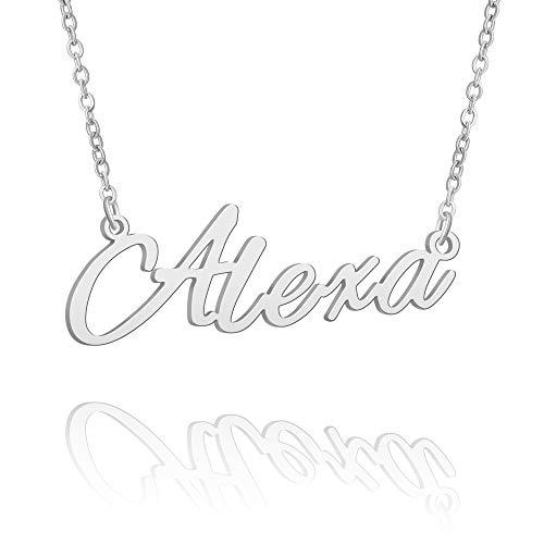 BUREI Collar con Nombre Personalizado para Mujer, Collar con Colgante de Plata, Regalos para Alexa