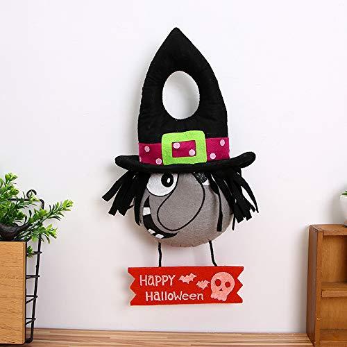 JIUJ Halloween-Dekoration Hexe Kürbis Totenkopf Kopf Türklopfer kreative Urlaubs-Atmosphäre A Witch\'s Door Knocker