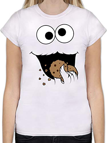 Karneval & Fasching - Keks-Monster - XL - Weiß - L191 - Tailliertes Tshirt für Damen und Frauen T-Shirt