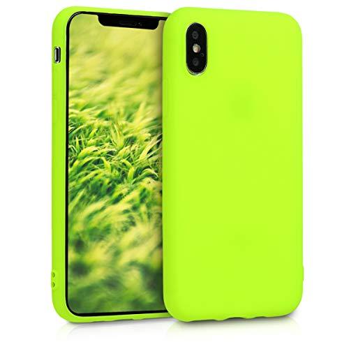 kwmobile Cover Compatibile con Apple iPhone XS - Custodia in Silicone TPU - Backcover Protezione Posteriore- Giallo Fluorescente