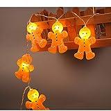 Hattfart Christmas Decoration Lights, Gingerbread Man Festive Decorating Lights String,DIY Home,Birthday Wedding Party