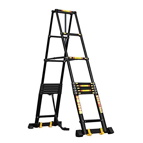 JJYGONG Escaleras Telescópicas, Escalera Portátil, Plegado, Negro, Trabajo Pesado, Extensión de Aluminio, Ingeniería Plegable Duradera, Capacidad de 330 Libras, 6 M / 85 Pies Plegabl