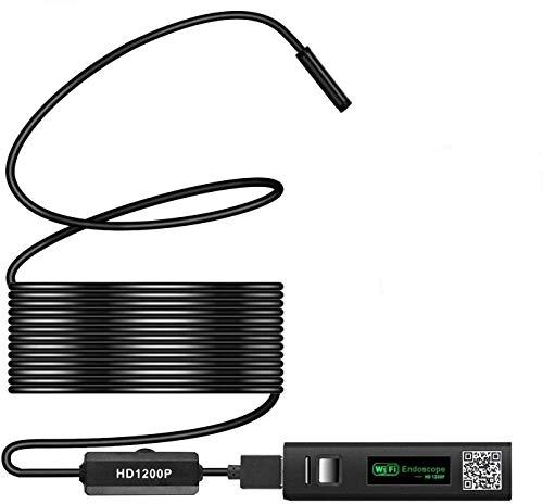 ワイヤレス内視鏡カメラ USB wifi接続 1200P 超高画質 スマホ タブレット iphone android ios pc対応 ファイバースコープ 8mm極細レンズ 録画可能 エンドスコープ IP68防水 8LEDライト 硬性 設備の点検 スネークカメラ スコープ 工業用 ギフト MAYOGA 安定なAPP 日本語取説(5m)