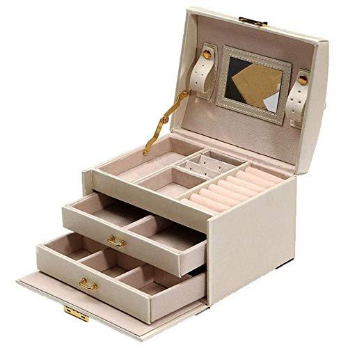 Hbno grote sieradenverpakking & display box kast dressing borst met sluitingen armband ring organizer draagtassen