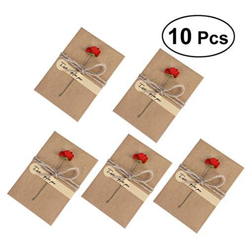 Toyvian 10 Piezas de Flores Secas Tarjetas de Felicitación Sobres de Invitación de Papel Kraft Vintage Tarjetas Postales de Agradecimiento para Mamá Maestra Padre Amigos Familias Regalo Rosa