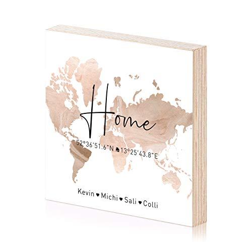 home personalisierte Koordinaten Holzbild Einweihungsgeschenk 15x15 zum hinstellen aufhängen als Geschenk-Idee zum Hausbau Richtfest Einzug Eigenheim Wand-Bild (Bronze)