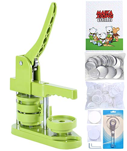 Happizza Installation-Free Button Badge Maker Machine (3rd Gen) 58mm (2.25in) DIY Pin Button Maker Press Machine Badge Punch Press with Free 100pcs Button Parts&Pictures&Circle Cutter&Magic Book