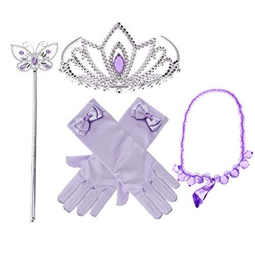 iiniim 5Pcs Conjunto con Accesorios de Princesa Corona Varita Mágica Collar y Guantes para Niña Cosplay Carnaval Fiesta de cumpleaños Fiesta de Halloween Morado+Azul Morado OneSize