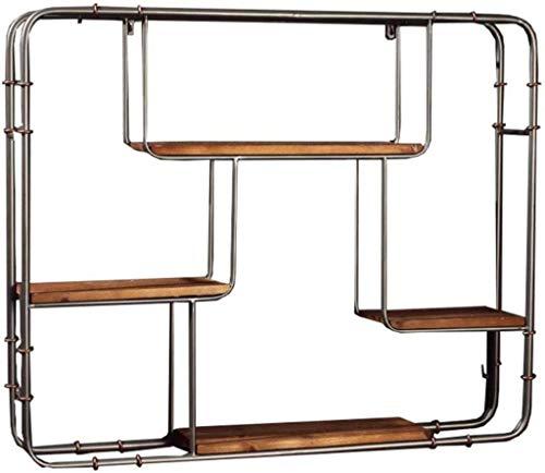 DNSJB Decoraciones de pared Diseño Plataforma LOFT estante de la pared del rectángulo de madera y de hierro material de metal utilizado for estantería de almacenamiento de visualización estante del vi