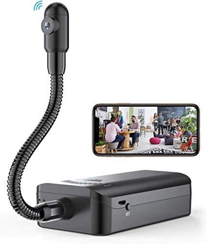 MCSTREE Mini cámara con manguera de metal, 4 K, HD, WiFi, interior con batería recargable y batería de larga duración, detección de movimiento