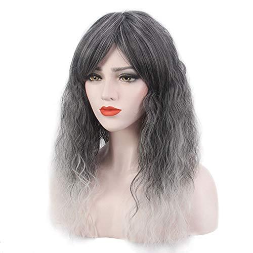 Extension des cheveux Perruque Cosplay Bangs Oblique Bangs Fashian Gris-Argent Gradient (Couleur : Silver grey)