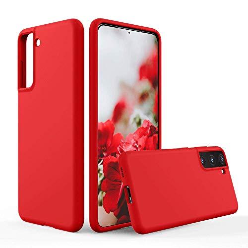 SURPHY Cover Compatibile con Samsung Galaxy S21 5G (6.2'), Custodia in Silicone per Galaxy S21 Cover Antiurto con Fodera in Microfibra Protettiva Case per Samsung S21(2021), Rosso