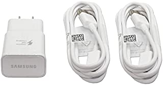 Genuine OEM Samsung Adaptive Fast Charging White Charger EPTA20JWE EP-TA20JWE with TWO (2) USB Cable ECB-DU4EWE ECBDU4EWE for Galaxy Note4, Note Edge and S6 in Non-Retail Pack