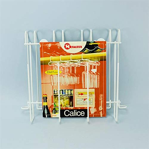Metaltex 364912 Porta Bicchieri sottopensile, Filo Ferro, Bianco, 33x27x7 cm