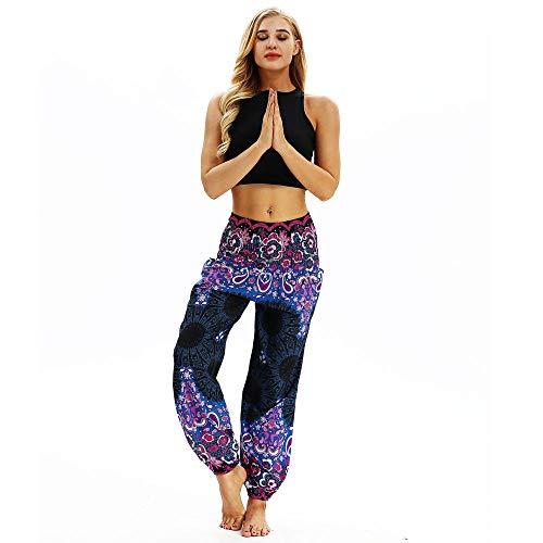 KJCWQ Cintura Alta Pantalón De Yoga Mujer,Pantalones De Chándal De Mujer con Estampado Floral Tradicional Pantalones De Playa De Pierna Larga-Yci016_One_Size