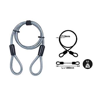 Yale YC1/10/120/1 Câble Antivol en Spirale, à 2 Boucles Pour Vélo, VTT, 120 cm x 12 mm, Noir