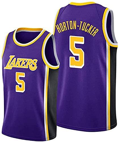 llp Uniformes de Baloncesto para Hombres, Lakers 5 Horton-Tucker NBA Transpirable y de Secado rápido Camisetas Chalecos Fans 'Basketball Jersey (Color : Purple, Size : Small)
