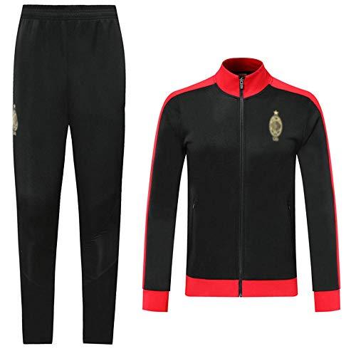 AWMSSR Fútbol Fútbol para Hombres Adultos Entrenamiento Ropa Deportiva Camiseta de fútbol Traje Deportivo de Manga Larga -980-negro_XXL
