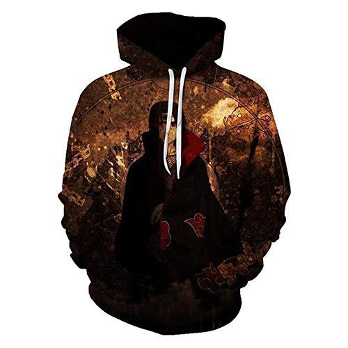 XTT NARUTO - Chaqueta con capucha con estampado de capucha y cremallera cálida con costuras deportivas, manga larga, regalos para el día de los niños 16-XXL