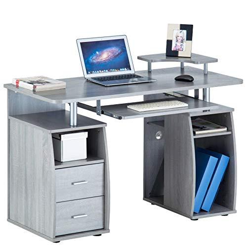 Piranha Großer Computer Schreibtisch mit 2 Schubladen und 4 Regalfächern in Silber-Grau PC 5y