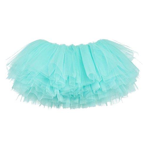 My Lello Little Girls 10-Layer Short Ballet Tulle Tutu Skirt (4 mo. - 3T) -Aqua