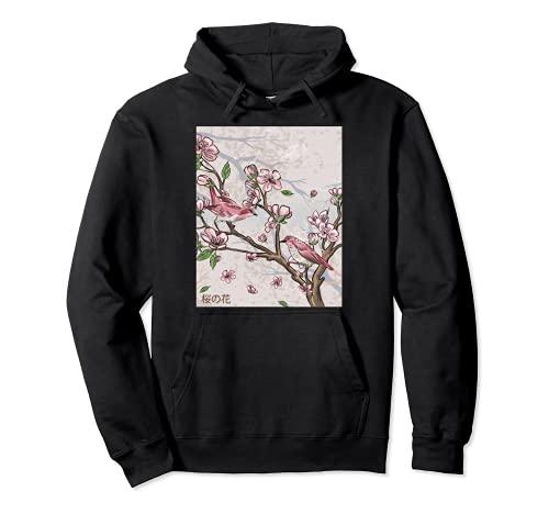Flor de cerezo de arte gráfico estético japonés Sudadera con Capucha