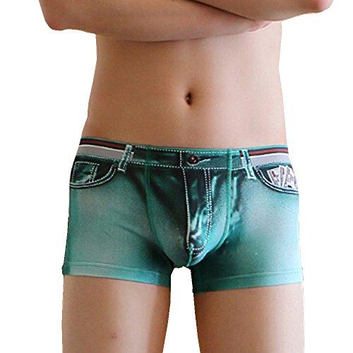 Azruma Herren Unterhose Boxershorts 3D Denim Höschen Dreidimensionale Druck Männer Gezeiten Männliche Flache Hosen Unterwäsche