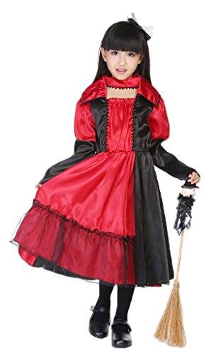 Bigood Costumes Déguisement Cosplay Princesse Queen Sorcière Enfant pour Halloween M