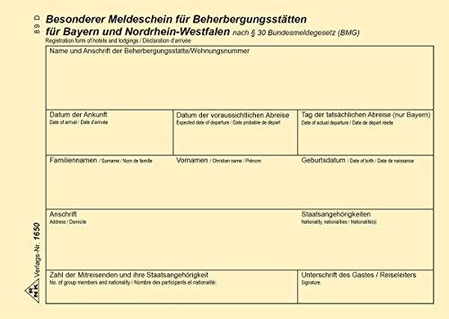 RNK 1650 Zimmerrechnungsbücher, Gäste- und Meldungsbücher Fremdenmeldeblock A6