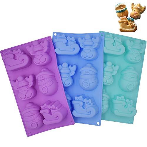 INTVN 3 Unidades de moldes de Silicona para Navidad, bandejas de jabón para Chocolate, moldes para Hornear Tartas, con Forma de muñeco de Nieve, de Reno, 6 cavidades – Morado, Azul, Verde