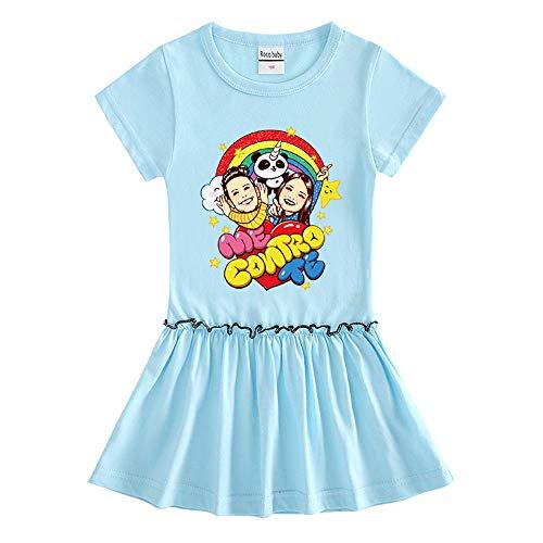 O&K Robe New Girl Manches Courtes bébé Princesse Jupe Populaires Sweat Top Vêtements,Bleu,110cm