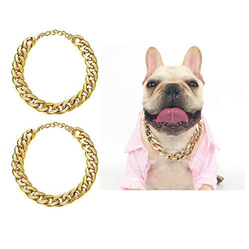 2 Piezas Cadena de Eslabones de Perro Dorado, Cadena Collar Dorado Perro, Cadena de Collar de Eslabones de Perro, Collar de perro Mascota Bulldog, Ajustable, adecuado para perros pequeños y medianos