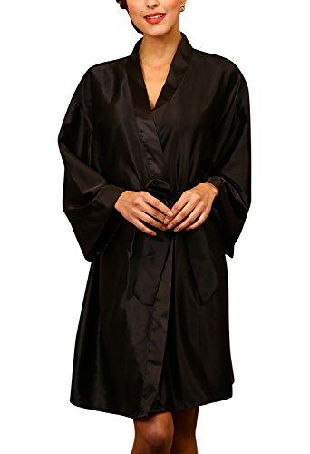 Dolamen Unisex Donna Uomo Kimono Vestaglia Pigiama Sleepwear, Lussuoso Raso Vestaglie e Kimono Robe Accappatoio Pigiama, Busto 132cm, 51.97 pollici, Large Size per tutti (Nero)