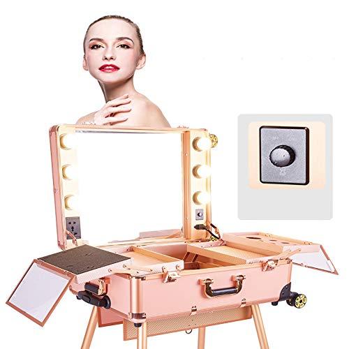 Maleta 2 en 1 Maquillaje profesional Estuche de belleza Estuche Trolley Trolley de maquillaje Multi compartimentos con luces LED y espejo Maquillador Artista Caja cosmética Organizar Estuche de tren