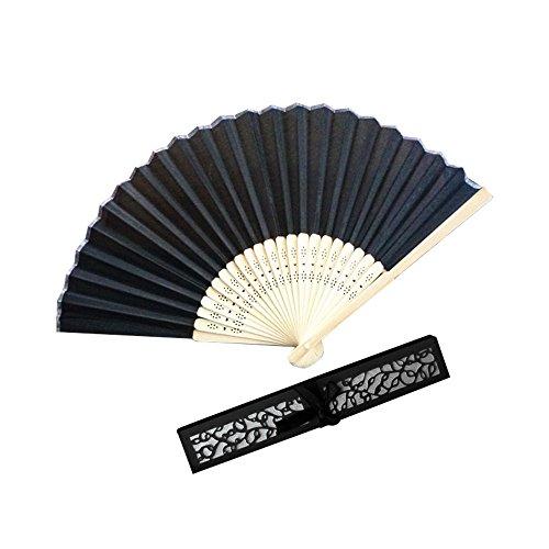 Andouy Retro Faltfächer/Handfächer/Papierfächer/Federfächer/Sandelholz Fan/Bambusfächer für Hochzeit, Party, Tanzen(21cm.Schwarz-A)