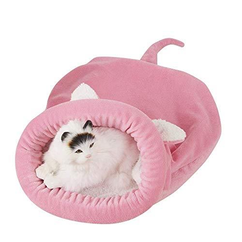 YAWJ YAN Plüsch-weiche Katze Schlafsack Windproof Snuggle Sack Blanket Mat für Hund und Welpe (Farbe : Rosa, größe : M (50x40cm))