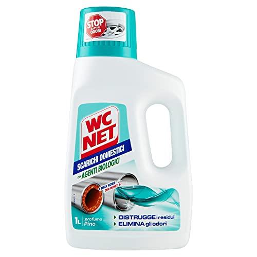 Wc Net Professional - Scarichi Domestici con Agenti Biologici, Trattamento Liquido, Fragranza Pino, 1000 ml