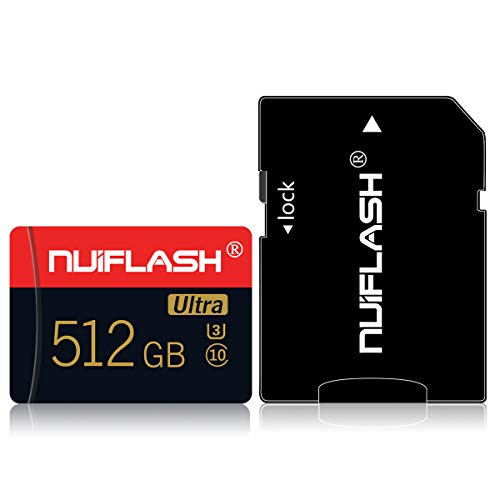 512 GB Micro SD-Speicherkarte (Klasse 10 High Speed) SD-Speicherkarte TF-Karte mit Adapter für Kamera, Telefon, Computer, Nintendo Switch, Dash Came, Überwachung, Drohne