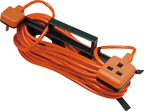 Masterplug Outdoor Single Socket Extension Lead with 'H' Frame Cable Tidy, 15 Metres, Orange